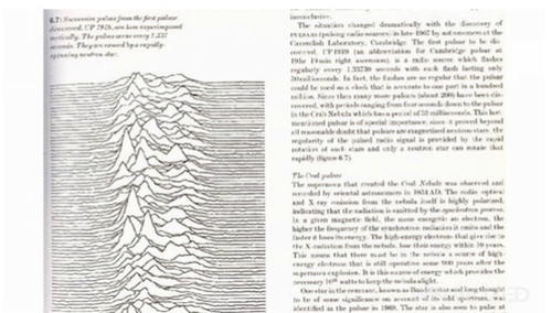 Comparative path demonstration of frequency from a signal of a pulsar (Cambridge Encyclopedia of Astronomy)