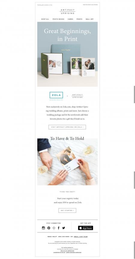 Artifact Uprising Email Marketing Example