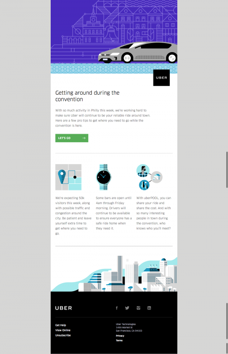 Uber - Example of Informative Email Campaign