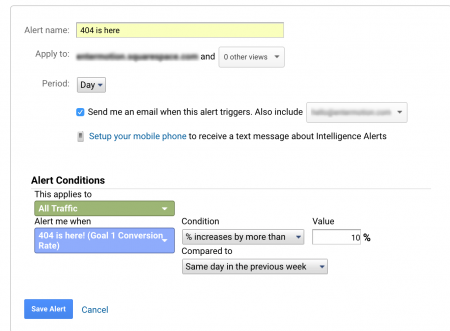 How to create a 404 alert on Google Analytics.
