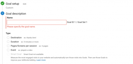 Goal setting on Google Analytics
