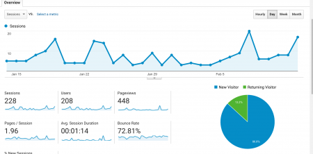 Audience overview analysis from Google Analytics.