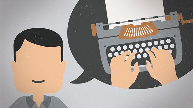 Faceless man picturing typewriter.