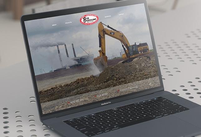 Close up of website designed by Entermotion, Wichita's web design studio, for Bergkamp Construction